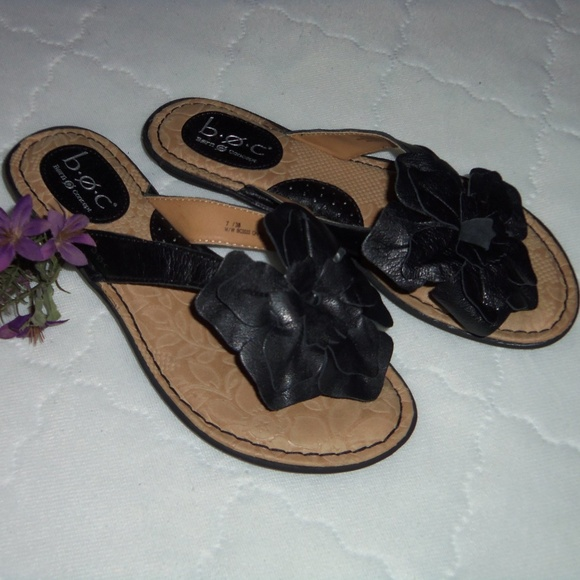 cb45d1ffe95e Born Shoes - Born B.O.C. flower top leather black thong 7